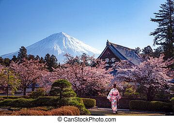 Traveller in japanese kimono dress walk in a sakura park