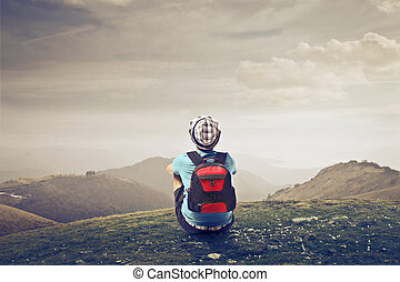 Traveller man in the nature