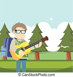 traveller playing guitar in forest