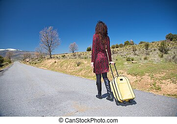 traveller woman on the road