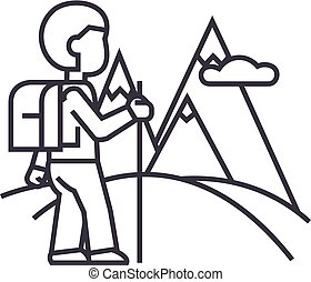 Traveller,hiking Vector Line Icon, Sign, Illustration On Background,  Editable Strokes