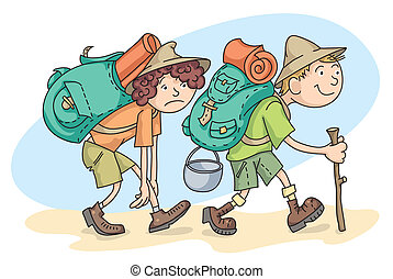 Man and woman are hiking with backpacks.