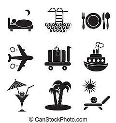 Set of nine black travelling and accommodation icons on stone-like background