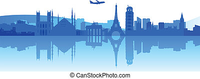 Travelling Around Europe - Illustration of famous buildings...