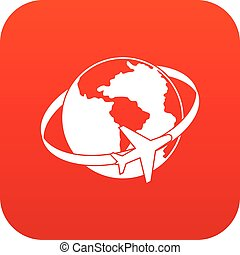 Travelling around the world icon digital red