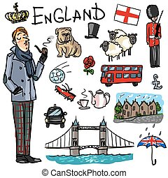 Travelling attractions - England - Set of cartoon hand drawn...