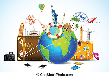 illustration of travel baggage with world famous monument around globe