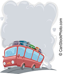 Travelling Bus with Smoke