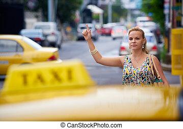 travelling-business, kvinna, folk, stoppande, gulingen taxar