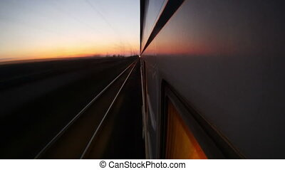 Travelling by passenger train timelapse (view from the train window)