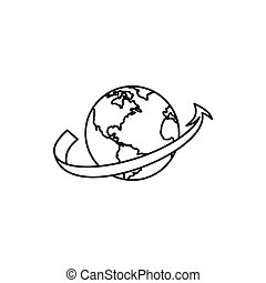 Travelling by plane around the world icon