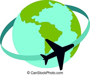 Travelling by plane around the world icon isolated