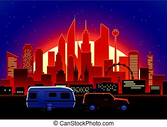 Travelling car in modern city with night illumination