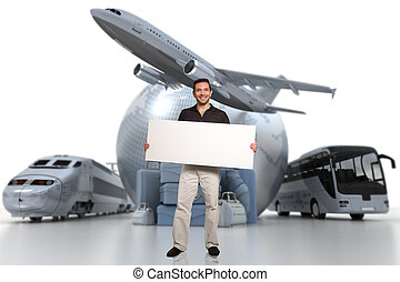 Travelling communication - 3D rendering of a man holding a...