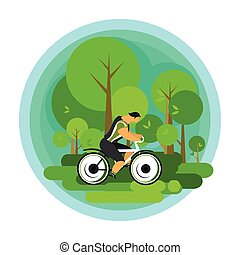 Travelling cyclist vector