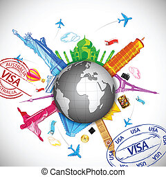 Travelling - illustration of world famous monuments around...