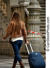 Travelling - Girl going on a journey.