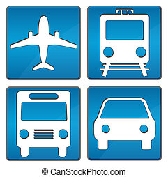 Plane, Train, Bus, Car square icons in blue over white background.