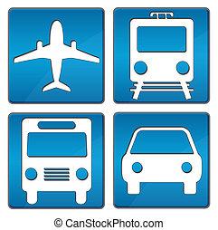 Travelling Icons Blue - Plane, Train, Bus, Car square icons...