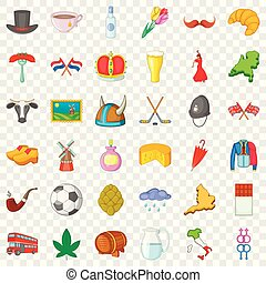 Travelling icons set, cartoon style