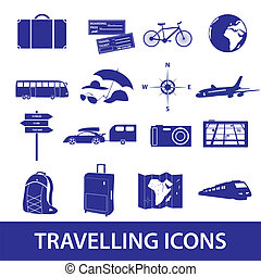travelling icons set eps10