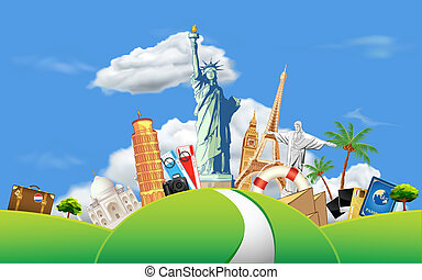 Travelling - illustration of historical monument on meadow