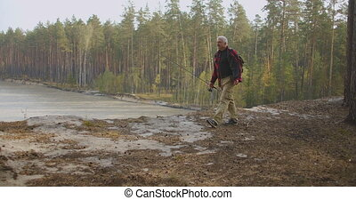 travelling in woodland area, man with rod is walking to ...