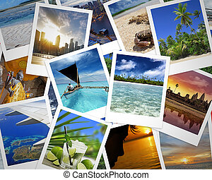 travelling memories - heap of travel photographs and holiday...