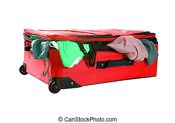 travelling suitcase - suitcase with clothes hanging from the...