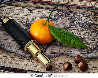 vintage telescope and mandarine at antique map