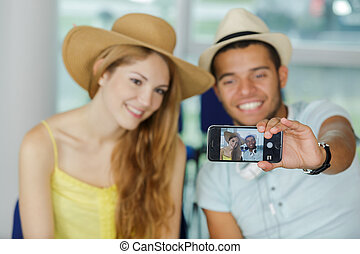 travelling young couple take the selfie