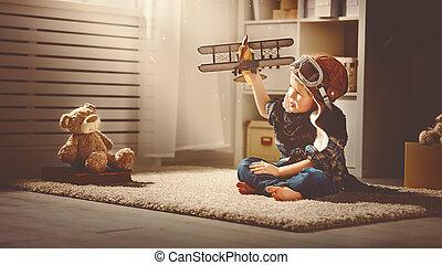 travels., aviador, niño, juguetee avión, sueños, concepto, piloto
