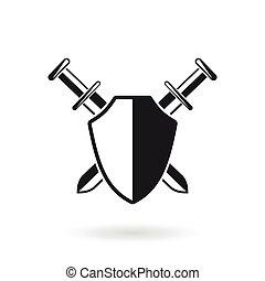 traversé, épées, bouclier