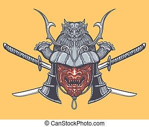 traversé, épées, masque, japonaise, samouraï