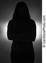 traversé, adolescent, silhouette, bras, girl