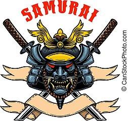 traversé, bannière, shirt., t, carte, illustration, élément, casque, affiche, katanas., conception, emblème, guerrier, vecteur, samouraï