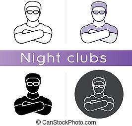traversé, boîte nuit, nuit, professionnel, illustrations, figure, control., rgb, garde corps, couleur garde, videur, vecteur, noir, fort, icon., divertissement, bras, sécurité, linéaire, lieu, club, isolé, styles.