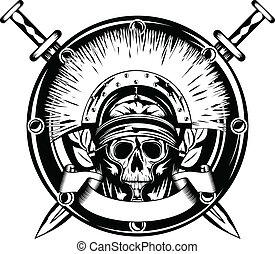 traversé, casque, épée, crâne