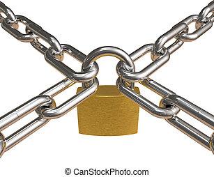 traversé, chaînes, cadenas