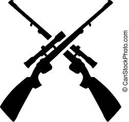 traversé, chasse, fusil