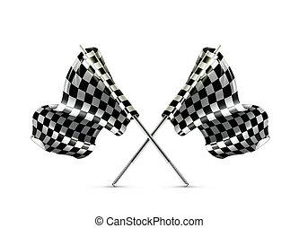traversé, checkered, drapeaux, deux