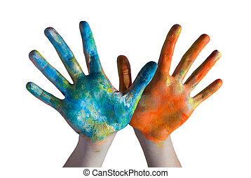 traversé, coloré, mains