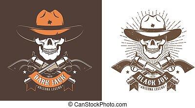 traversé, crâne, cow-boy, fusils