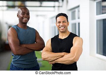traversé, mâle, athlètes, bras