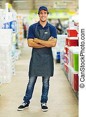 traversé, ouvrier, bras, supermarché
