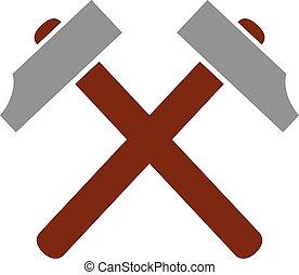 traversé, symbole, marteau