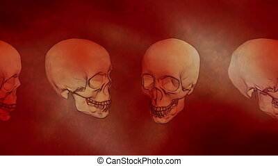 travers, boucle, brume, rouges, crânes