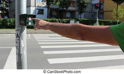 traversant signal, rue, bouton