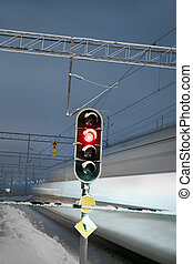 traversant signal, train, ferroviaire, rouges