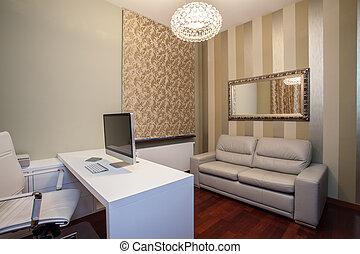 travertine, casa, -, modernos, escritório lar